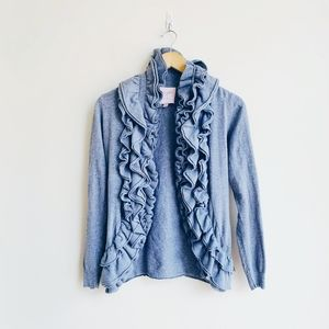 Romeo & Juliet Couture Gray Ruffle Cardigan